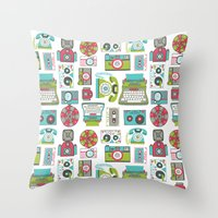 technology Throw Pillows featuring Vintage Technology by Allison Cole