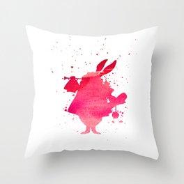 The white rabbit splatter Throw Pillow