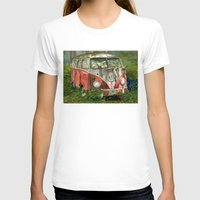 volkswagon T-shirts featuring VW Bus in the Woods by Barb Laskey Studio
