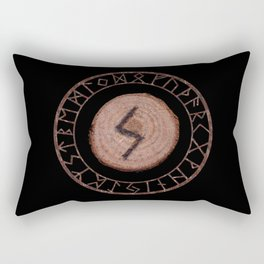 Sowilo Elder Futhark Rune Success, goals achieved, honor. The life-force, health, victory Rectangular Pillow