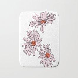 Daisy botanical line illustration - Bud Bath Mat