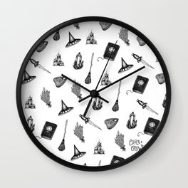Witchy Pattern - coracrow Wall Clock