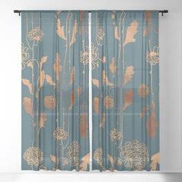 Art Deco Copper Flowers  Sheer Curtain