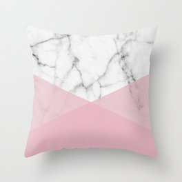 Real White marble Half Rose Pink Modern Shapes Throw Pillow