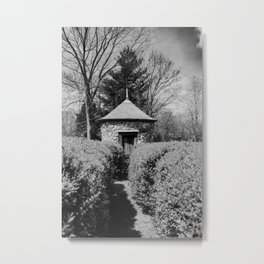Hedge Maze Labyrinth in Black and White - New Harmony, Indiana Metal Print