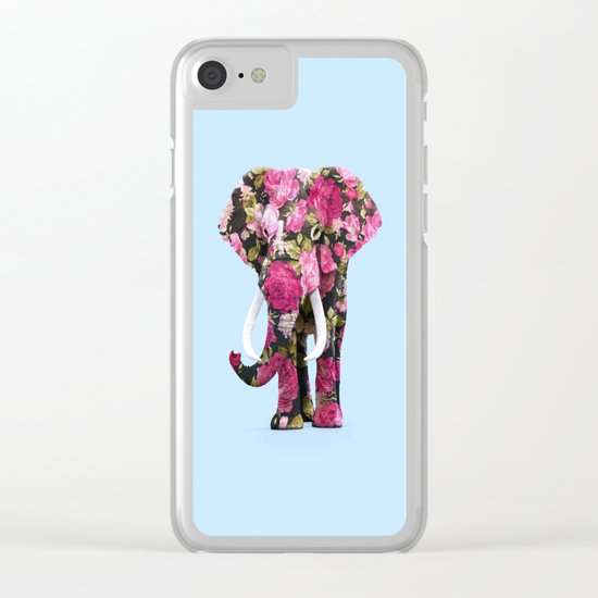 FLORAL ELPHANT Clear iPhone Case