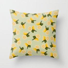 Yellow Citrus Lemon Fruit on Pale Lime Green Throw Pillow