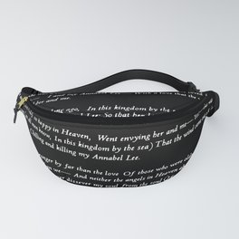 Annabel Lee Edgar Allan Poe black Classic Poem Fanny Pack