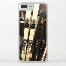 Vintage Skis Clear iPhone Case