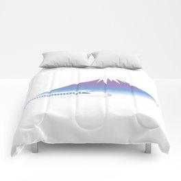 Mt.Fuji and Bullet train in Japan Comforters