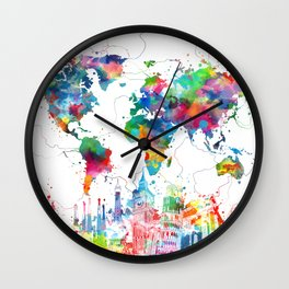 world map watercolor collage Wall Clock