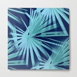 Aqua on Blue Tropical Vibes Beach Palmtree Vector Metal Print