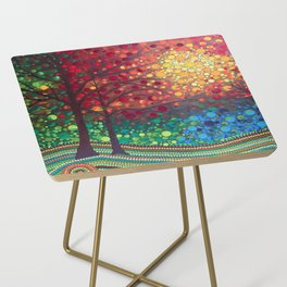 Winter sunset dot art by Mandalaole Side Table