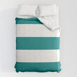Wide Horizontal Stripes - White and Dark Cyan Comforters