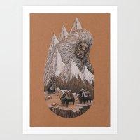 yeti Art Prints featuring Yeti by Jamie Leonard