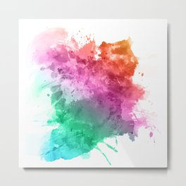 Watercolour splatter in rainbow colours Metal Print