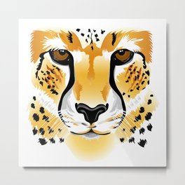 cheetah head close-up illustration Metal Print