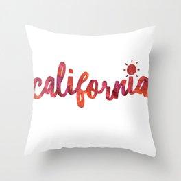 California Sun Watercolor Throw Pillow