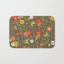 retro floral in funky colors Bath Mat