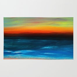 The Sunset Behind Distant Mountains 2 Seascape Rug