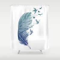 fly Shower Curtains featuring Fly Away by Rachel Caldwell