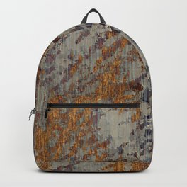 Graphic Grunge Orange and Grey Plaster Abstract Backpack