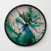 green arrow Wall Clocks featuring GREEN ARROW by Zorio