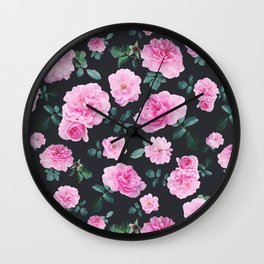 Pink Roses Flower pattern Wall Clock