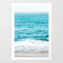 Teal Ocean Wave Photography Art Print