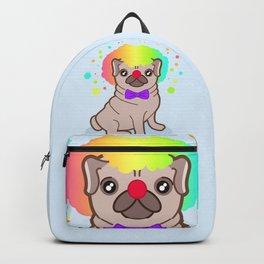 Pug dog in a clown costume Backpack