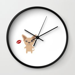 I Kissed A Chihuahua And I Liked It Cute Dog Kiss Gift Idea Wall Clock