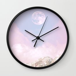 Closer to the moon - Pastel landscape Wall Clock