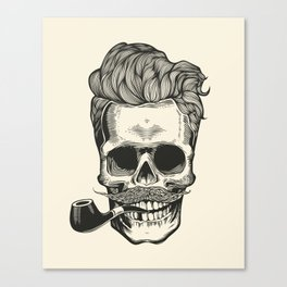 Skull silhouette with mustache, and tobacco pipes. Canvas Print