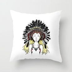 Native American Girl (colored) Throw Pillow
