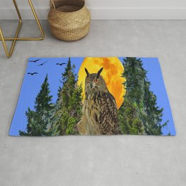 OWL WITH FULL MOON & TREES NATURE BLUE DESIGN Rug