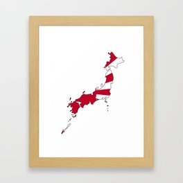 Japanese Map and Flag Framed Art Print