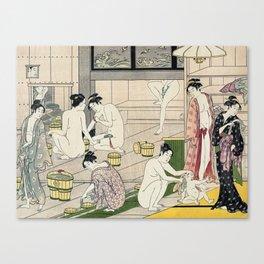 Interior of a Bathhouse by Torii Kiyonaga - Japanese Woodblock Canvas Print