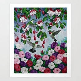 Hummingbirds in Fuchsia Flower Garden Art Print