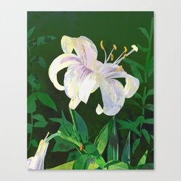 White Lily Floral Watercolor Portrait - Green Background Canvas Print