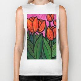 Tulips at Sunset Biker Tank