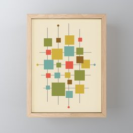 Mid-Century Modern Geometric Abstract Squares - Multi-colour Framed Mini Art Print
