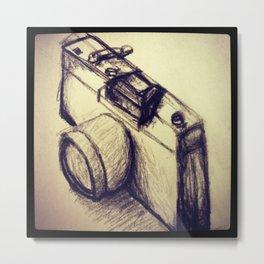Camera Sketch Metal Print