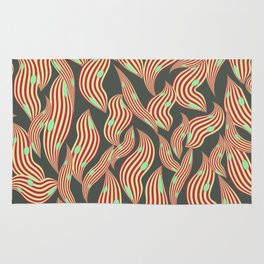 Seaworm red stripes turquoise dots Rug