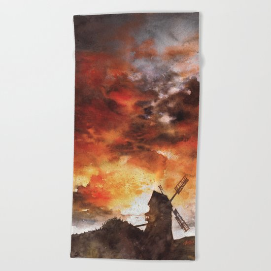 Windmill and the Sunset Sky Beach Towel