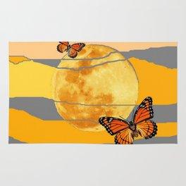 MOON & MONARCH BUTTERFLIES DESERT SKY ABSTRACT ART Rug