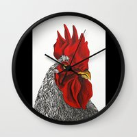 cock Wall Clocks featuring cock by bmkoc