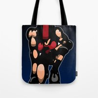 roller derby Tote Bags featuring Roller derby x by Andrew Mark Hunter