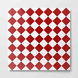 Red and white square pattern Metal Print
