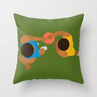 lakers Throw Pillows featuring Basketball / Geometrical portrait of the LA Laker vs the New York Knicks by In The Modern Era