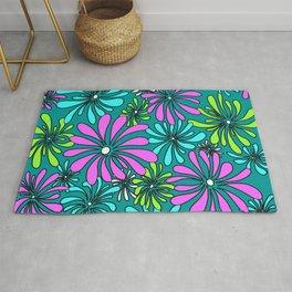 Swirly Flower Multi Color Graphic Design Floral Art by Megan Duncanson MADART Rug
